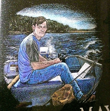 Colored-hand-etching-man-in-a-boat